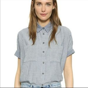 madewell chambray stripe courier shirt sleeve